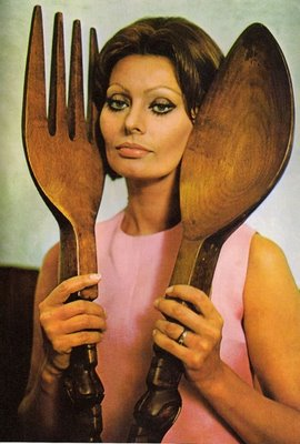Sophia with giant spoon & fork