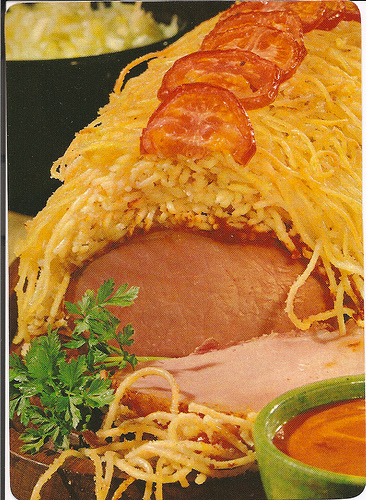 Pork with spaghetti